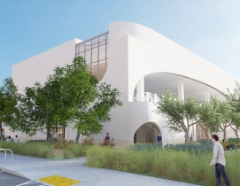 A rendering of the northeast corner of the new Donald Dungan Library
