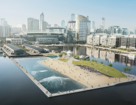 The Floating Surf Park proposed for Melbournes Victoria Harbour. Rendering cour