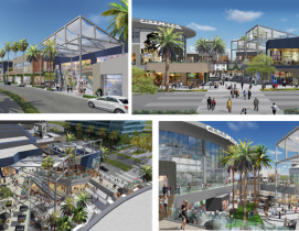 A collage of four renderings showing the new HHLA from Laurus Corporation and the Jerde Partnership