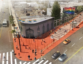 A rendering of the reimagine Harvey Milk Memorial Plaza from Perkins Eastman
