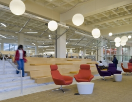 The 2010 interior renovation transformed an existing 1980s library into a dynami