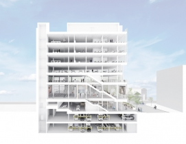 A rendering of the four-story Center for Community & Entrepreneurship in New York.