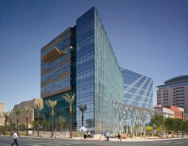 Las Vegas City Hall, constructed at a cost of $109 million, $17 million below bu