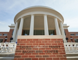 Front of the new Laurie-Walton Family Basketball Center