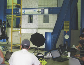 Researchers at the University of Notre Dame test a hybrid concrete shear wall for seismic performance.