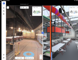 A side-by-side viewer compares an OpenSpace picture and the BIM model of a Level10 Construction project for a Silicon Valley tech company