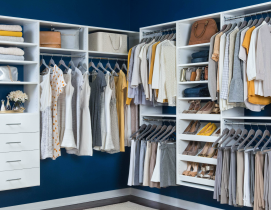 Organized Living Select white walk-in closet