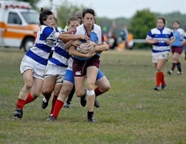 Kate Ahrens of Ballinger in rugby match