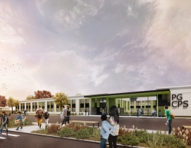 Exterior rendering of new K-12 school in Prince George's County in Maryland