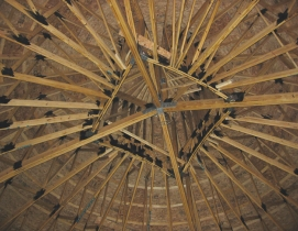 Wood truss ceiling in a salt storage building