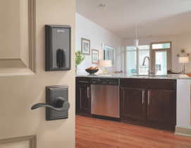 Interconnected systems (such as the Schlage Control lock shown here) are being used in multifamily complexes.