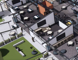 A rendering of a new school campus with flexible indoor-outdoor teaching spaces