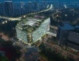 Shenzhen Children's Hospital aerial at night