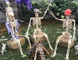 Skeleton firepit, Chicago 2020 Halloween