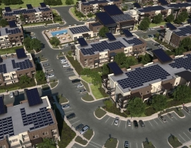 Aerial view of soleil lofts with solar panels
