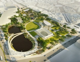 Aerial view of the La Brea Tar Pits master plan