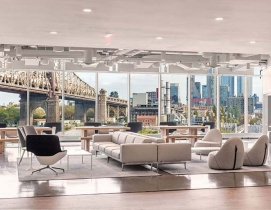 The shared amenity space at the Tata Innovation Center at Cornell Tech