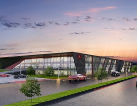 A rendering of the exterior of Turkish Airlines' Flight Training Center from TAGO