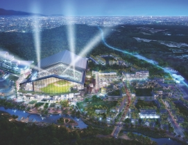 Aerial view of Nippon-Ham Fighters new ballpark