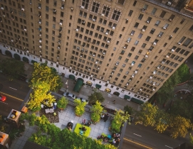 Looking down onto a rooftop terrace in the city