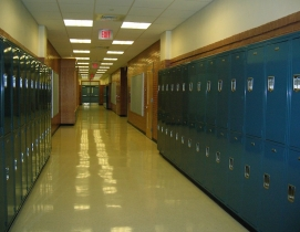Lockers lining a high school hallway