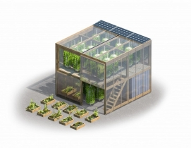 Farming in a flatpack: Copenhagen designer offers an assembly kit for a two-story hydroponic urban farm.