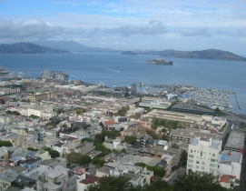 San Francisco, photographed northwards from the Coit Tower with Alcatraz in the