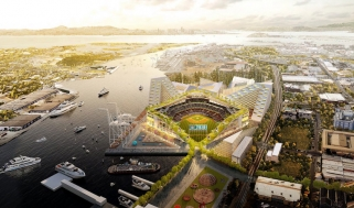 Aerial rendering of Oakland A's new stadium, designed by BIG