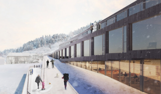 Guests ski down the Audemars Piguet hotel des Horlogers