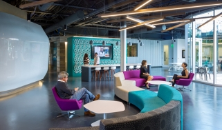 People sitting in an indoor collaboration space