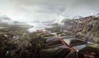 An aerial rendering of the Kolos data center in Ballangen
