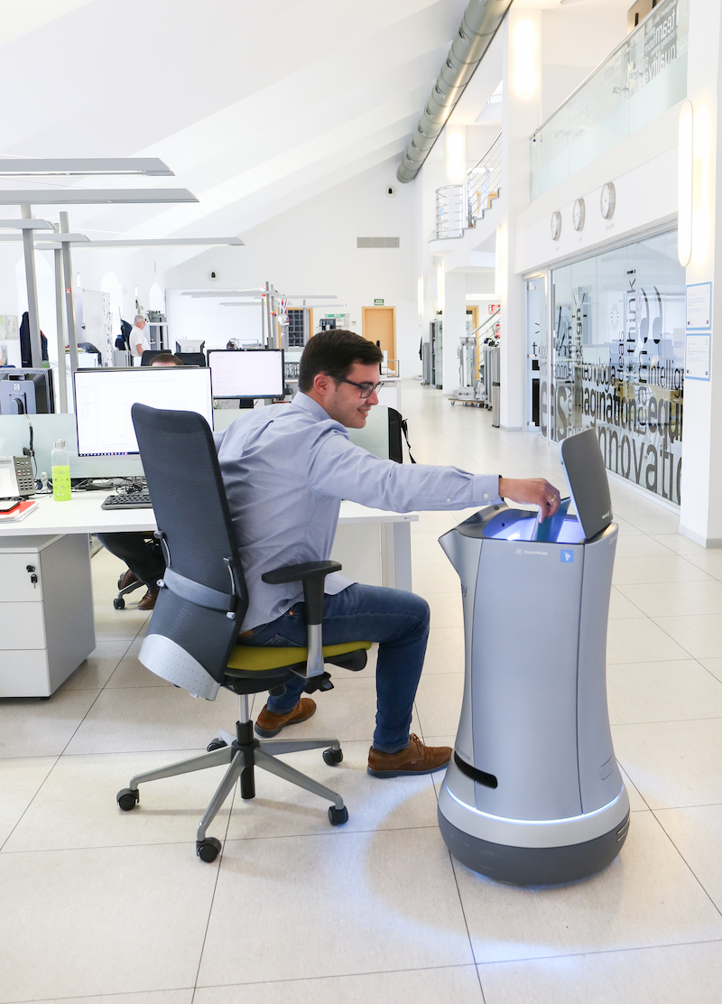 Delivery robot in office