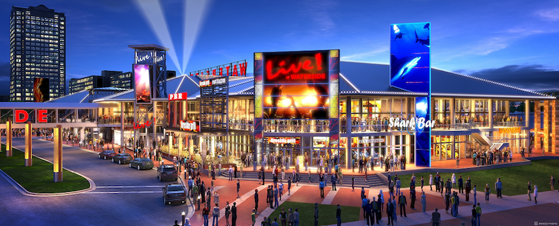 A rendering of the mixed-use sports and entertainment district Waterside Live!