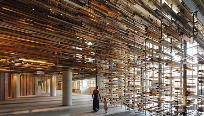 The lobby and staircase use thousands of lengths of repurposed timber. Photo cou